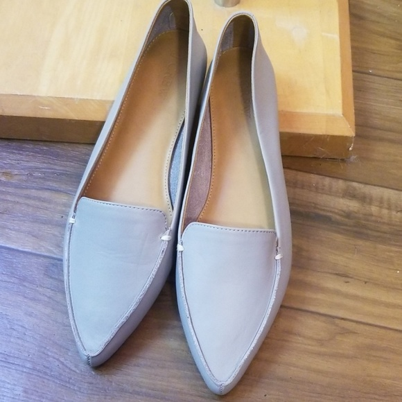 J. Crew Shoes - Gray NEW J Crew leather pointed toe flats